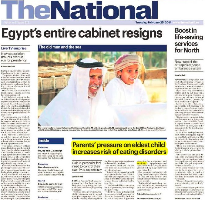 The National: Eating Disorders in Dubai: First borns face higher risks
