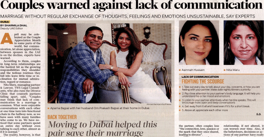 Couples Not Communicating Enough, Warn Experts – Dubai Psychologist, Aamnah Hussain, feat. in Gulf News