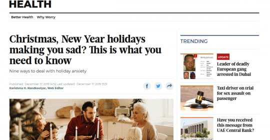 Christmas, New Year holidays making you sad? This is what you need to know – Psychologist, Dr. Harry, in Gulf News