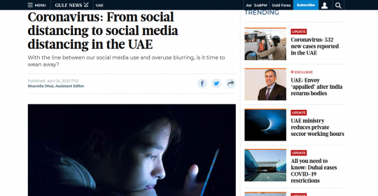 Coronavirus: From social distancing to social media distancing in the UAE – Dubai Psychologist, Dr Harry Horgan, in Gulf News