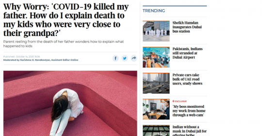 'COVID-19 killed my father' – Psychologist, Aamnah, Explains How to Grieve in Times of COVID – Gulf News Article