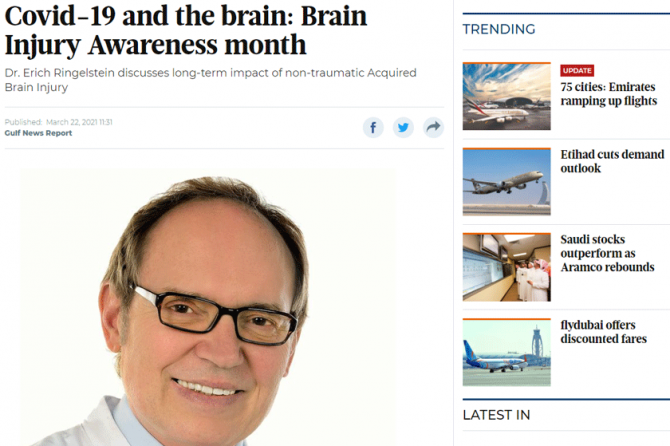 Covid-19 and the brain: Brain Injury Awareness month – Neurologist, Prof. Erich in Gulf News