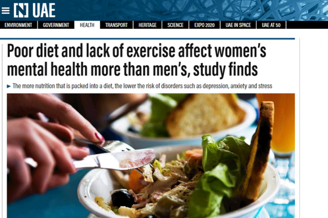 Poor diet and lack of exercise affect women's mental health more than men's – Dubai Psychologist, Dr. Fabian, explains the connection in The National